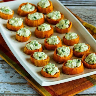 Sweet Potato Appetizer Bites with Feta and Green Onion.