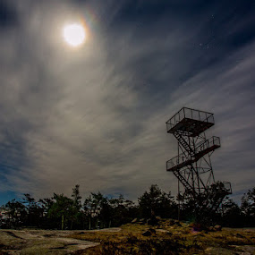 Alone by Einar Bjaanes - Landscapes Cloud Formations ( tower, night, alone, sarpsborg, norway )