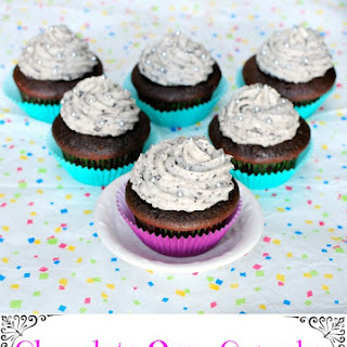 Chocolate Oreo Cupcakes with Cookies and Cream Frosting.