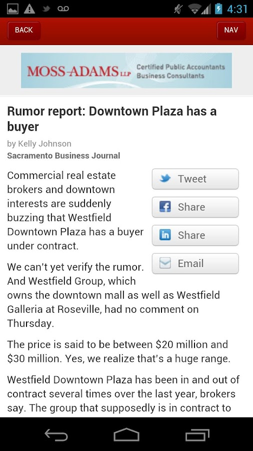 Sacramento Business Journal - screenshot