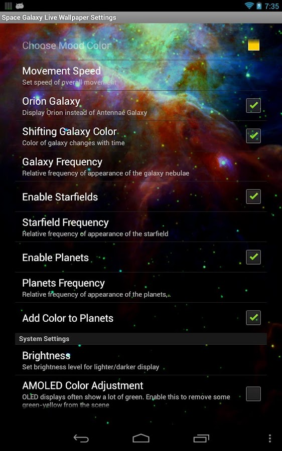 Space Galaxy Live Wallpaper - screenshot