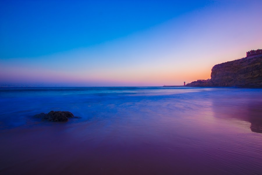 Imssouane by Anas Nasmi - Landscapes Sunsets & Sunrises ( reflection, blue hour, sunset, cliff, golden sand, imssouane, beach, morocco, landscape, rocks )