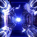 3D BLUE SPACE SHIP TUNNEL