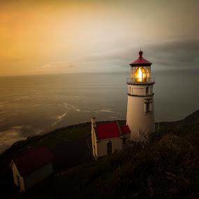 Haceta Head Lighthouse by Glenn Miller - Landscapes Sunsets & Sunrises ( lighthouse, oregon coast, sunrise )
