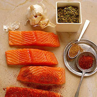 Chile-Rubbed Salmon with Papaya and Scallions.