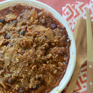 Apple, Pear & Cranberry Pie with Walnut Streusel.