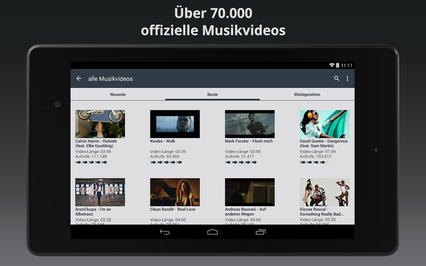 Clipfish: TV, Filme & Musik - screenshot