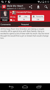 One Direction (1D) Fanfiction - screenshot thumbnail