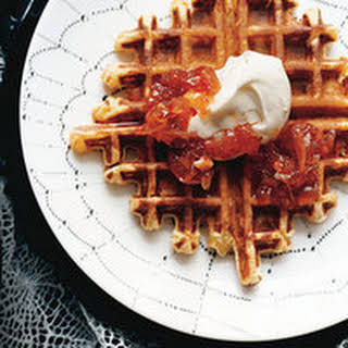 Savory Ricotta Waffles with Red-Hot Jam.