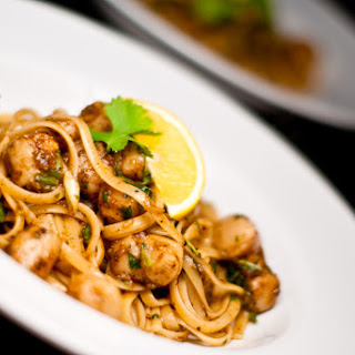 Firecracker Curried Scallops with Linguine.