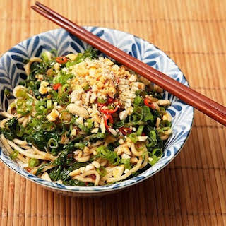 Cold Sichuan Noodles with Spinach and Peanuts.