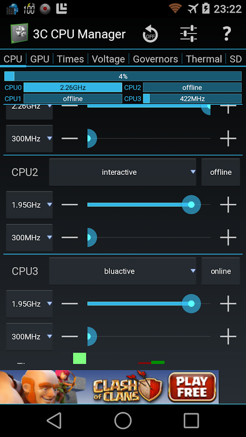 3C CPU Manager- screenshot