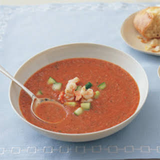 Chilled Tomato Soup with Shrimp.