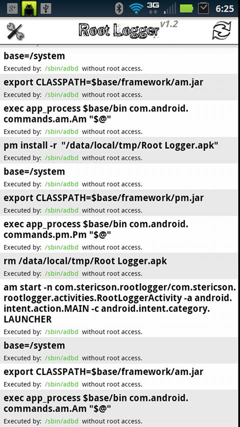 Root Logger - screenshot