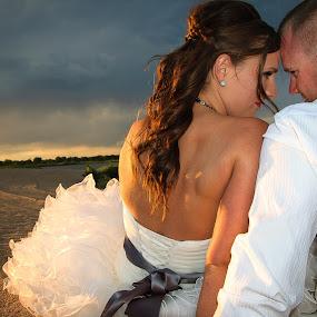When Everyone Goes Home by RaeLynn Petrovich - Wedding Bride & Groom ( love, sand, lovers, relax, weddings, wedding, sunset, bride and groom, beach, marriage, bride, groom )