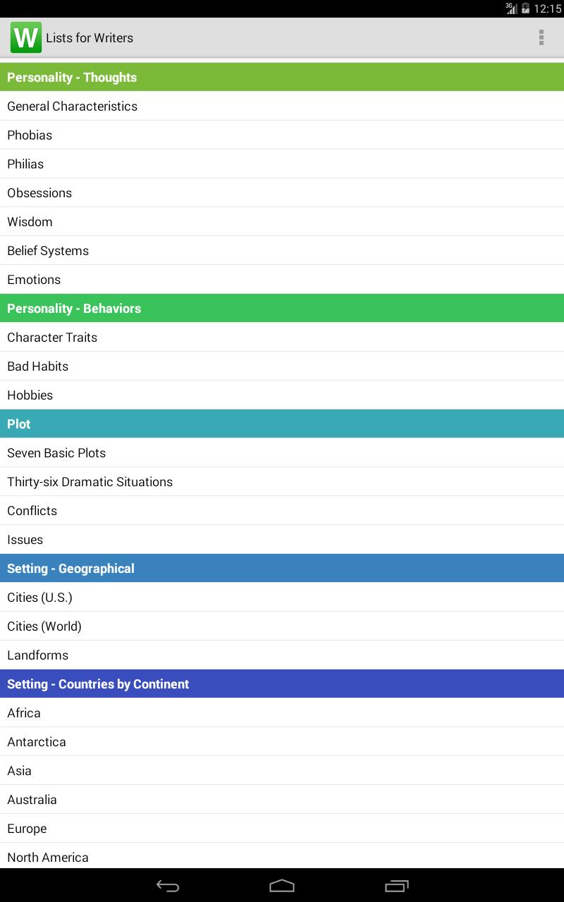 Lists for Writers screenshot #7