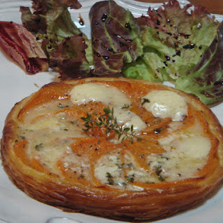 Very Thin Puff Pastry Tart with Sweet Potato and Sain-Andre Cheese.