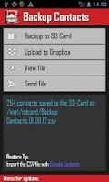 Screenshot of Backup Contacts