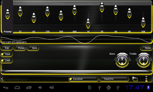 Poweramp skin Yellow Glow v2.03