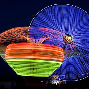 The County Fair by Roy Walter - City,  Street & Park  Amusement Parks ( lights, rides, amusement park, park, slow motion, county fair )