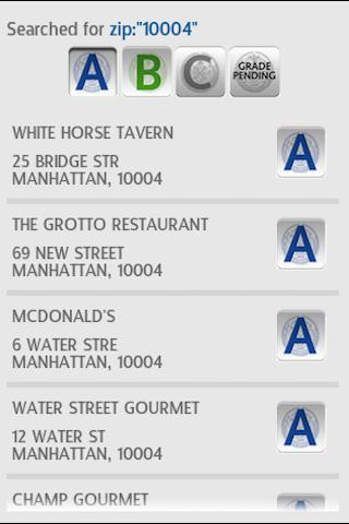 NYRG - Restaurant Grades- screenshot