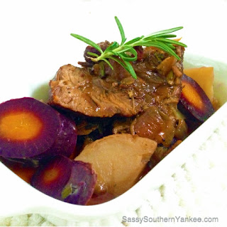 Garlic-Bacon Pot Roast with Purple Carrots