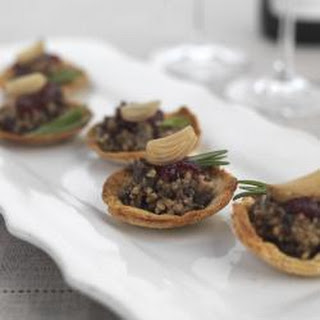 Haggis And Sweet Pickled Baby Onion Tartlets.