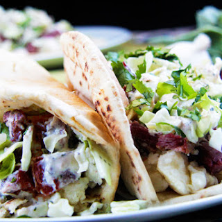 Irish Corned Beef Brisket Pitas with Parmesan Potatoes, Cabbage and Radish Dressing