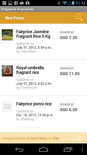 Singapore Rice prices