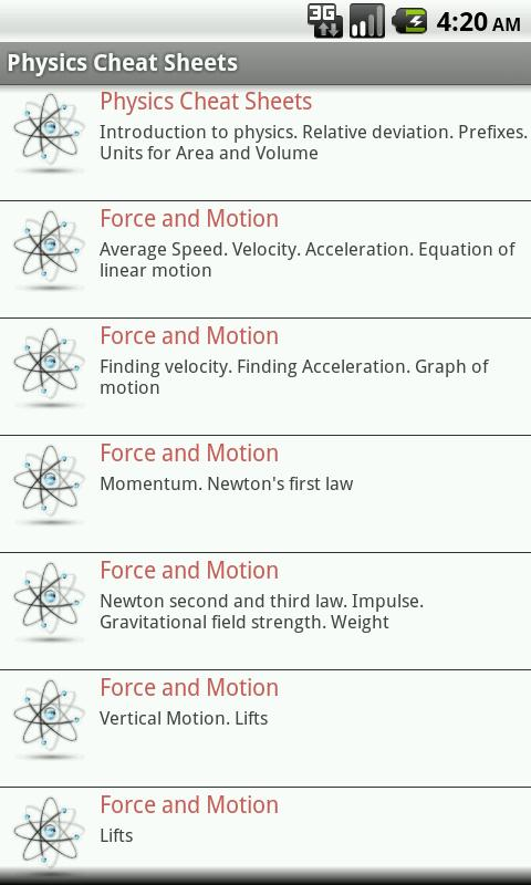 Physics Cheat Sheets FREE - screenshot