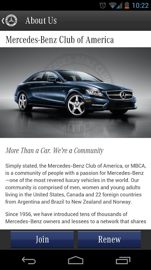 mercedes benz club of america android apps on google play. Black Bedroom Furniture Sets. Home Design Ideas