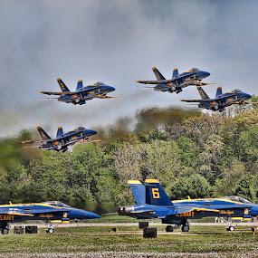 Feel the Heat by Gary Enloe - Transportation Airplanes ( clouds, plane, heat, blue angels )
