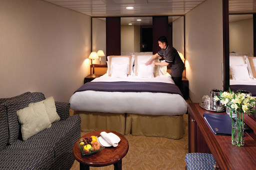 Azamara-Interior-stateroomR2 - A professional housekeeping staff will make sure your stateroom stays neat and comfortable while you sail on   Azamara.