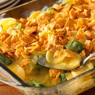 Cheesy Crunchy Broccoli Scalloped Potato Casserole.