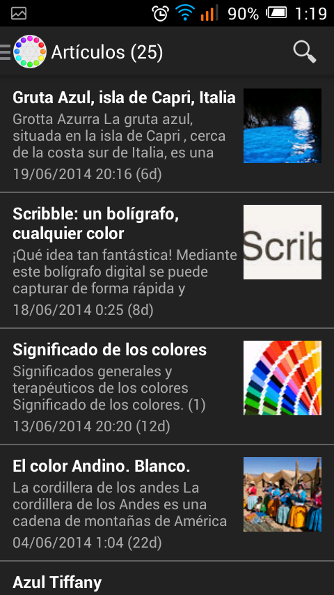 Sobre Colores- screenshot
