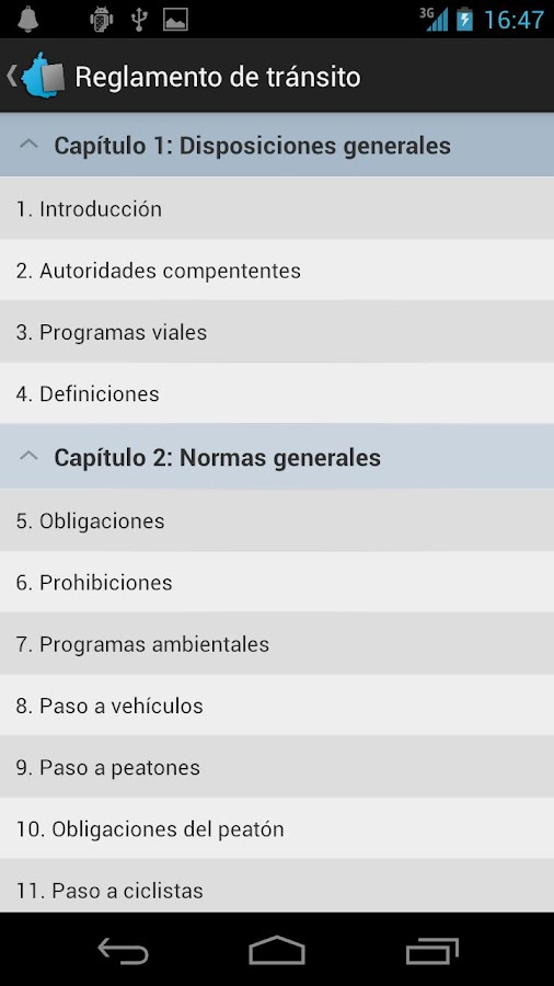 Reglamento de tránsito del  DF - screenshot