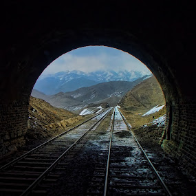 Snowy tunnel  by Agha Ahmed - Transportation Trains ( hills, mountains, railroad tracks, railway, snow, architecture, landscape )