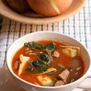 Chicken Sausage & Ravioli Soup.