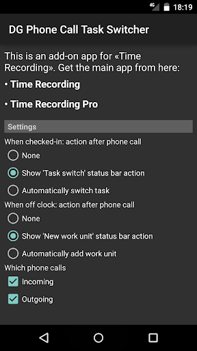 DG Phone Call Task Switcher