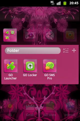 GO Launcher Theme Pink Flowers - screenshot
