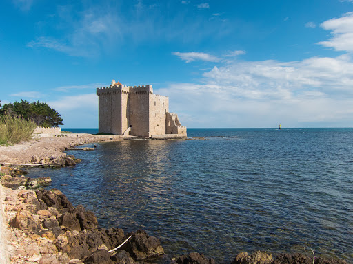 The fortified monastery of Abbey Lérins on Île Saint-Honorat, about a mile off shore from Cannes in the French Riviera.