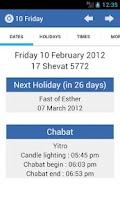 Screenshot of Jewish Calendar