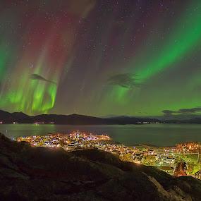 Lodingen City by Rune Nilssen - City,  Street & Park  Skylines ( k3, queen of the night, borealis, aurora, pentax, nordland, norway, city, lodingen )