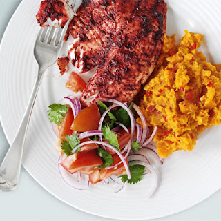 Tandoori Tilapia With Spicy Sweet Potato Mash & Tomato Salad