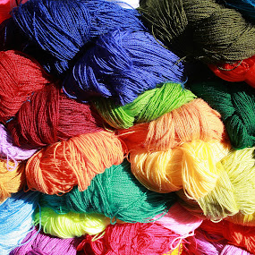 Bright Colored Skeins of Wool by Robert Hamm - Artistic Objects Other Objects ( abstract, craft, otavalo, market, ecuador, colorful, color, outdoor, skein, bunch, wool, yarn, colors, landscape, portrait, object, filter forge,  )