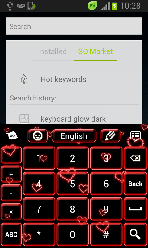 Neon Hearts Keyboard - screenshot