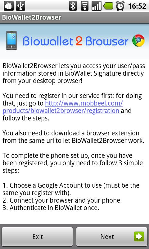 BioWallet2Browser - screenshot