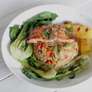 Miso Glazed Salmon with Fried Brown Rice, Grilled Pineapple & Baby Bok Choy