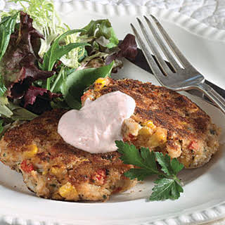 Louisiana Deviled Crab Cakes With Hot Peppered Sour Cream.