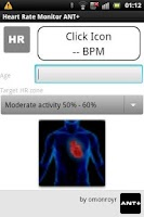 Screenshot of Heart Rate Monitor Ant+